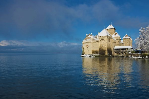 Switzerland Vaud, Waadt, Montreux, Veytaux, Château de Chillon, Schloss, castle, Lac Léman, Genfer See, Geneva Lake, hiver, Winter, winter, neige, Schnee, snow