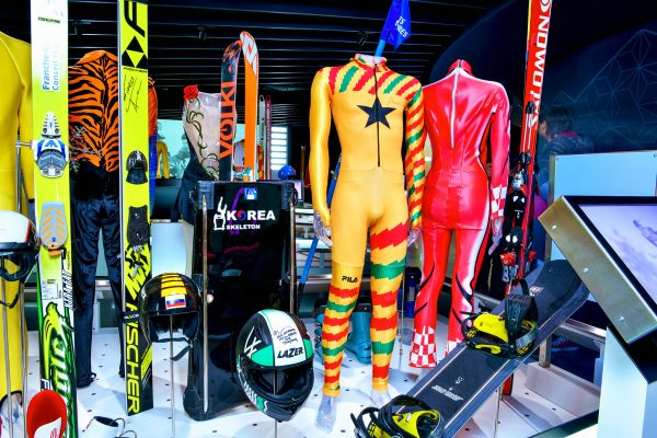 "The Olympic Museum Lausanne, 2018 - Interior view. Permanent exhibition at the Level 0. The area ""The Olympic Games"": the sports equipment of the Winter OG."